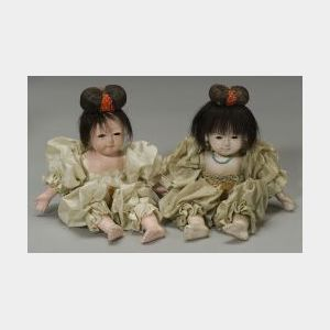 Two Papier Mache Japanese Trinket Box Dolls