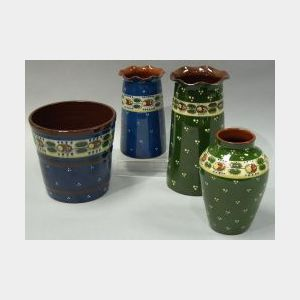 Three Aller Vale Ladybird Vases and a Flowerpot.