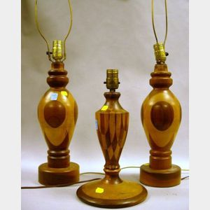 Three Mid-20th Century Specimen Turned-Wood Table Lamps