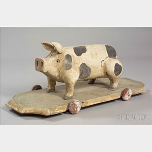 Carved and Painted Wooden Pig Pull Toy