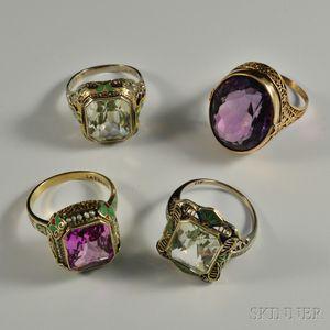 Four 14kt Gold Gem-set Rings