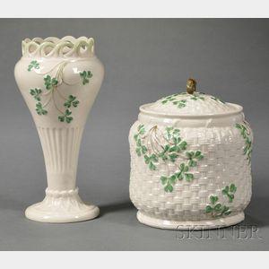 Two Belleek Porcelain Shamrock Items