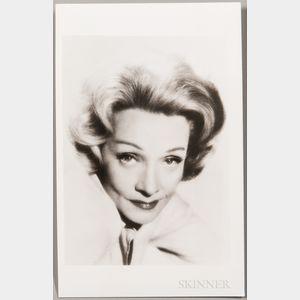 Dietrich, Marlene (1901-1992) Signed Photo Postcard.