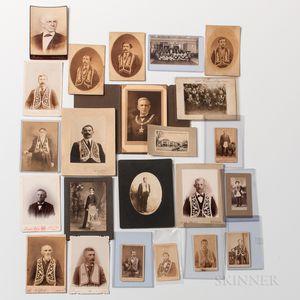 Twenty-two Photographs of Men Wearing Odd Fellows Lodge Regalia