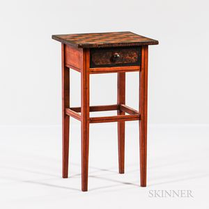 Checkerboard-painted Pine One-drawer Stand