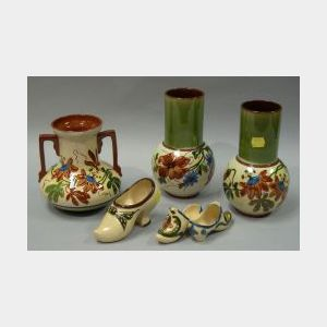 Pair of Watcombe Floral Vases and Floral Decorated Two-Handled Vase, an Aller Vale High Heel Shoe, and Scandy Shoes.