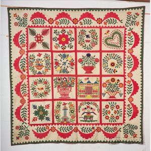 Sold for: $31,725 - Pieced and Appliqued Cotton Baltimore Album Quilt