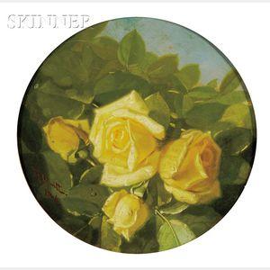 Edward Chalmers Leavitt  (American, 1842-1904)      Yellow Roses à Plein Air