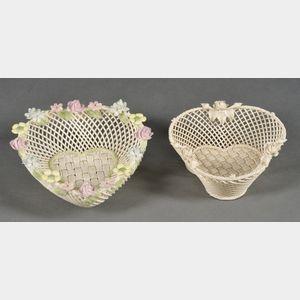 Two Belleek Porcelain Four-strand Baskets