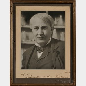 Edison, Thomas Alva (1847-1931) Signed Black and White Photographic Portrait.