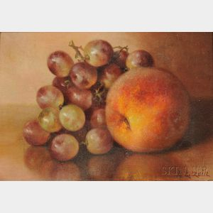 Abbie Zuill (American, 1856-1921)      Still Life with Peach and Grapes