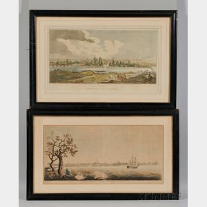 Four Framed Prints of American Cities: Mobile, Alabama; Richmond, Virginia; Portsmouth, New Hampshire; and Charles-Town [sic], South Ca