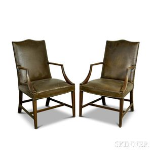 Pair of Federal-style Upholstered Mahogany Lolling Chairs