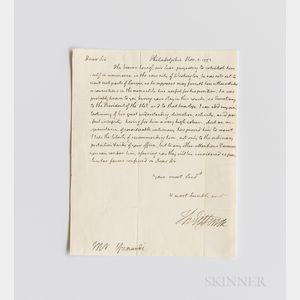 Jefferson, Thomas (1743-1826) Autograph Letter Signed as Secretary of State, Philadelphia, 5 November 1793.