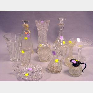 Eleven Pieces of Colorless Cut Glass Table and Barware