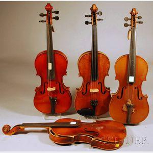 Four Modern German Violins, c. 1950.