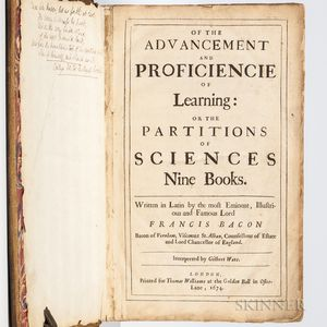 Bacon, Sir Francis (1561-1626) Of the Advancement and Proficiencie of Learning.