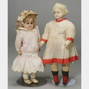 Two Papier Mache Shoulder Head Dolls