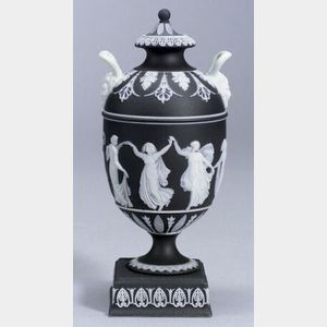 Wedgwood Black Jasper Dip Vase and Cover