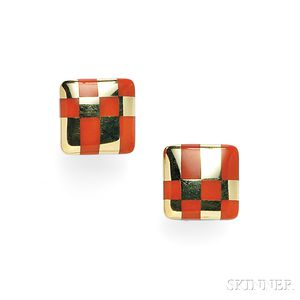 18kt Gold and Coral Earclips, Tiffany & Co.