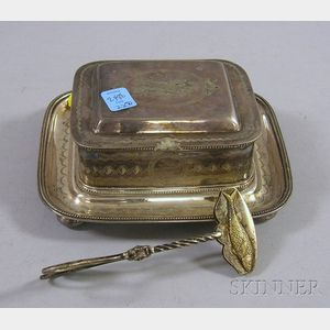 British Silver Plated Sardine Box and Tongs
