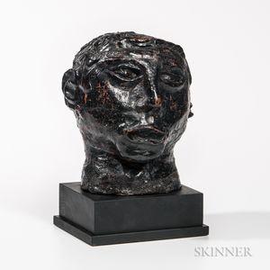 Black-painted Terra-cotta Head