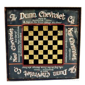 """The Dunn Chevrolet Co."" Reverse-painted Glass Checkerboard"