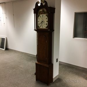 British Oak Tall Case Clock