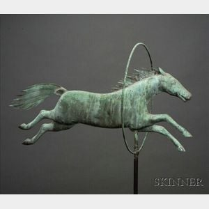 Molded Copper Horse Jumping Through Hoop Weather Vane