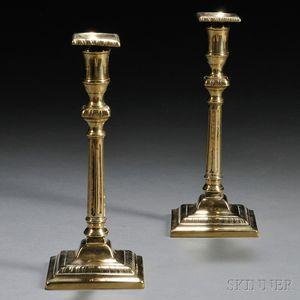 Pair of Georgian Brass Columnar Candlesticks