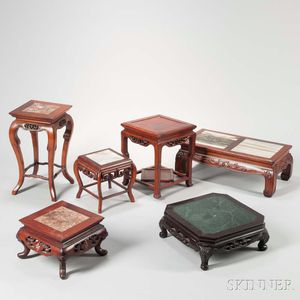 Six Hardwood and Marble Table Stands