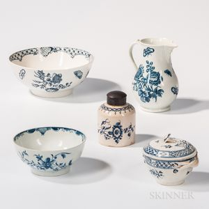 Five Worcester Porcelain Table Items