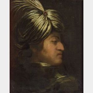 Italian School, 18th Century Style  Profile of a Gentleman in a Feathered Turban.