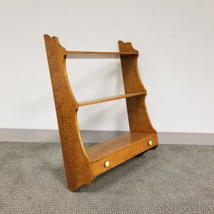 Tiger Maple Shaped-end Hanging Wall Shelf