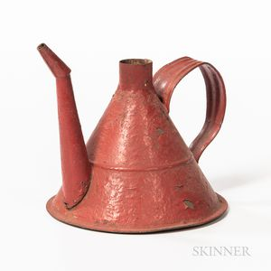Shaker Red-painted Tin Oil Can