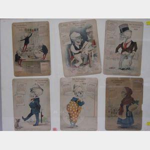 Framed Set of Six 1900 Antikmania Lithographed Calendar Panels.