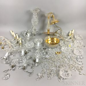Two Molded Colorless Glass Chandeliers