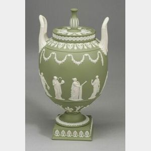 Modern Wedgwood Solid Green Jasper Two Handled Vase and Cover
