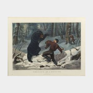 "Currier & Ives, publishers (American, 1857-1907)  THE LIFE OF A HUNTER.  ""A Tight Fix."""