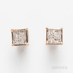 14kt Rose Gold and Mosaic Diamond Earstuds