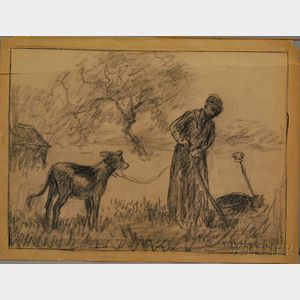 Attributed to Jean Francois Millet (French, 1814-1875)    Landscape with Milkmaid and Calf