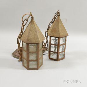 Pair of Art and Crafts Glass and Sheet Iron Hexagonal Lanterns