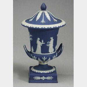 Wedgwood Dark Blue Jasper Dip Double Handled Vase and Cover