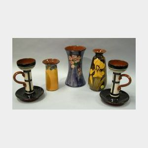 Pair of Watcombe Fruit Blossom Chambersticks and Vase, an Iris Vase, and a Torquay Art Deco Spill Vase.