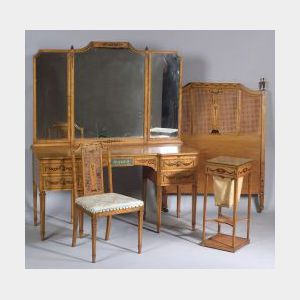Seven Piece Set of A. H. Davenport Edwardian Painted Maple Bedroom Furniture