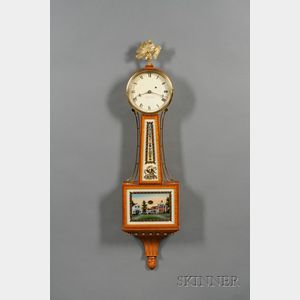 """Tiger Maple Patent Timepiece or """"Banjo"""" Clock by Foster Campos"""