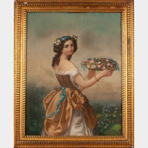 George G. Fish (American, act. 1849-1880)      Young Maiden Lifting a Basket of Flowers