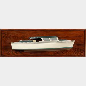 Painted and Carved Half-hull Model of Cabin Cruiser