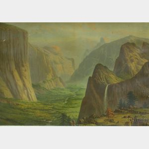 Framed 19th/20th Century American School Chromolithograph of Yosemite Valley.