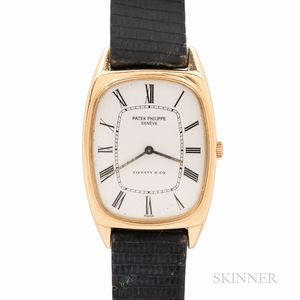 "Tiffany & Co. Signed Patek Philippe 18kt Gold ""Ellipse"" Wristwatch"